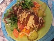 BBQ TVP with fresh green salad