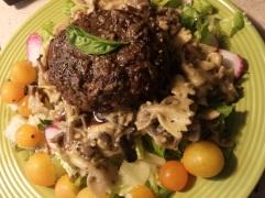 "Vegan ""Scotch Egg"" on mushroom bow-tie pasta"