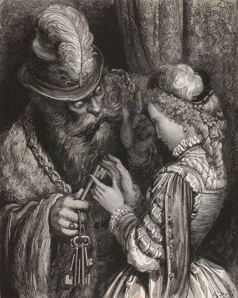 Bluebeard, his wife, and the keys in a 19th-century illustration by Gustave Doré